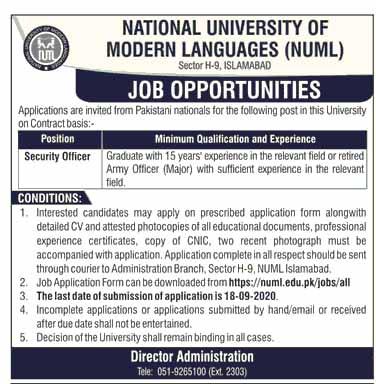 National University of Modern Languages NUML Jobs