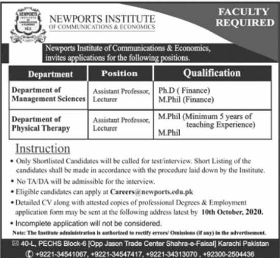 Newports Institute of Communication & Economics Jobs 2020
