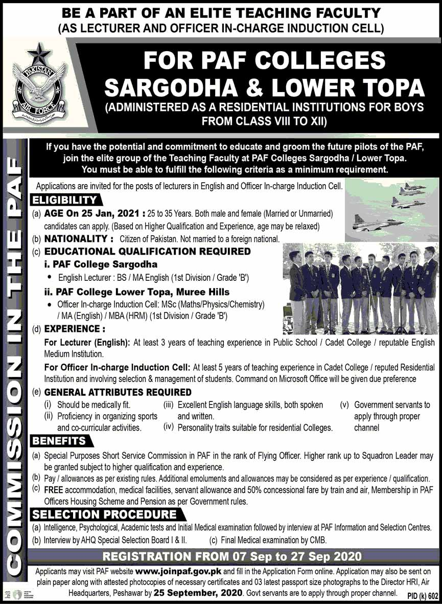 PAF Colleges Jobs