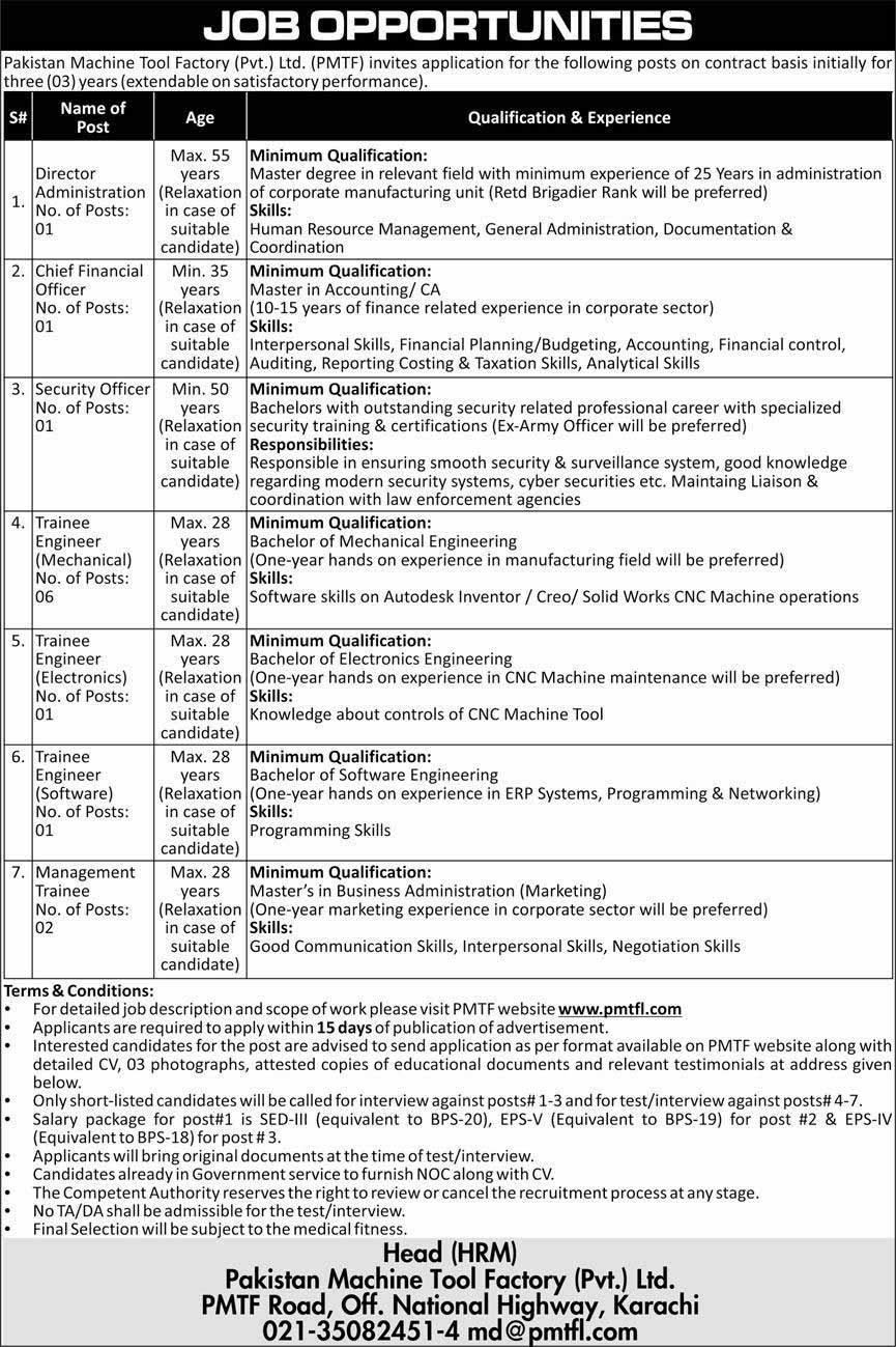 Pakistan Machine Tool Factory Pvt LTD Jobs 2020