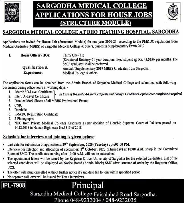 Sargodha Medical College Latest Jobs