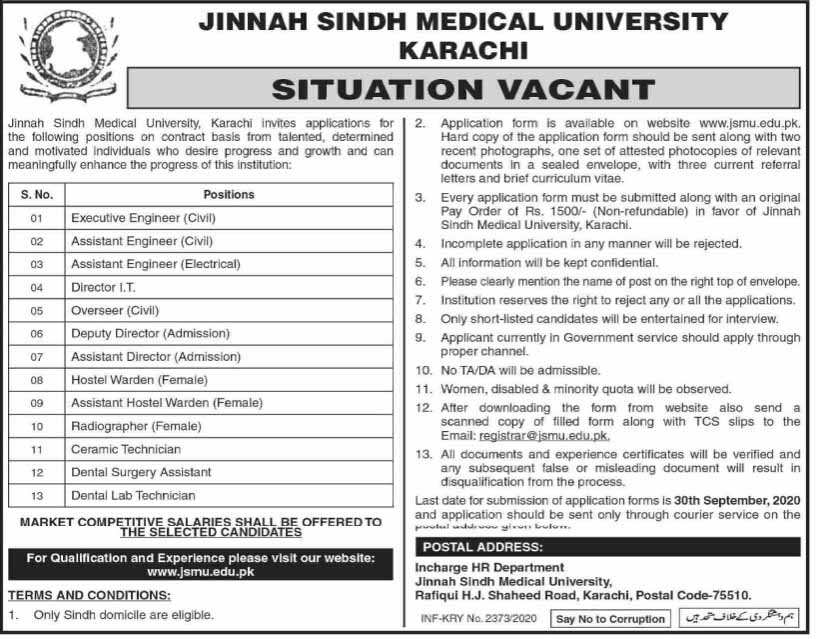 The Jinnah Sindh Medical University Jobs 2020