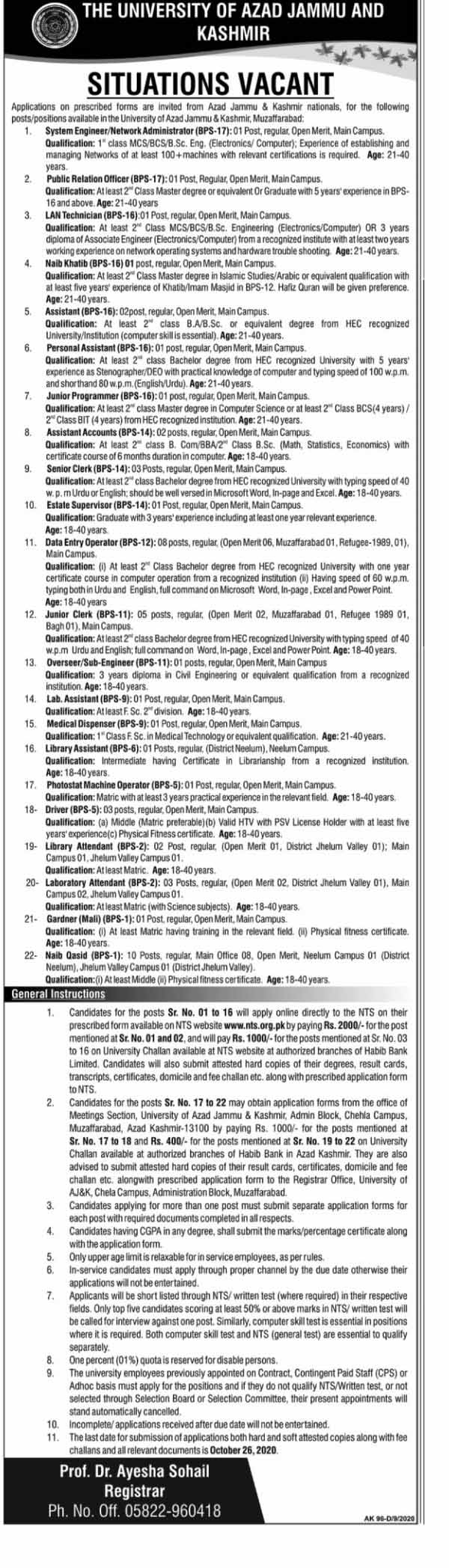 University of Azad Jammu and Kashmir Jobs September 2020
