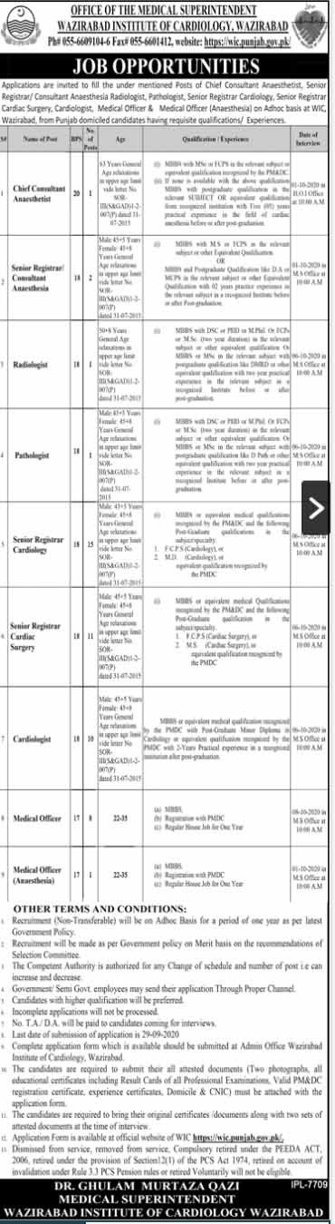 Wazirabad Institute Of Cardiology WIC Jobs