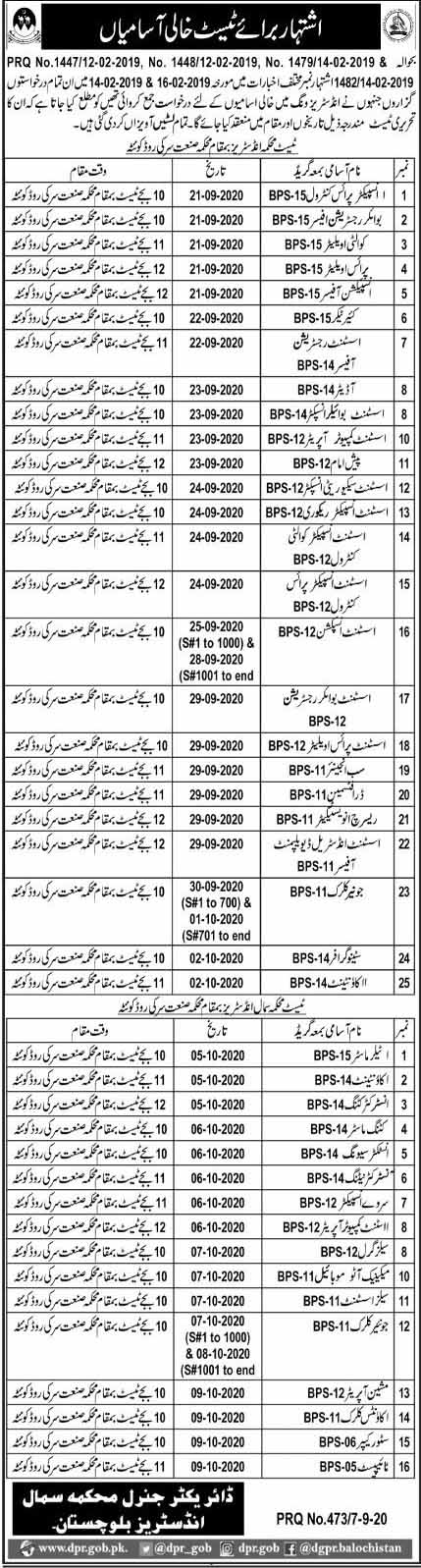 Written Test Schedule of Balochistan Small Industries Jobs 2020