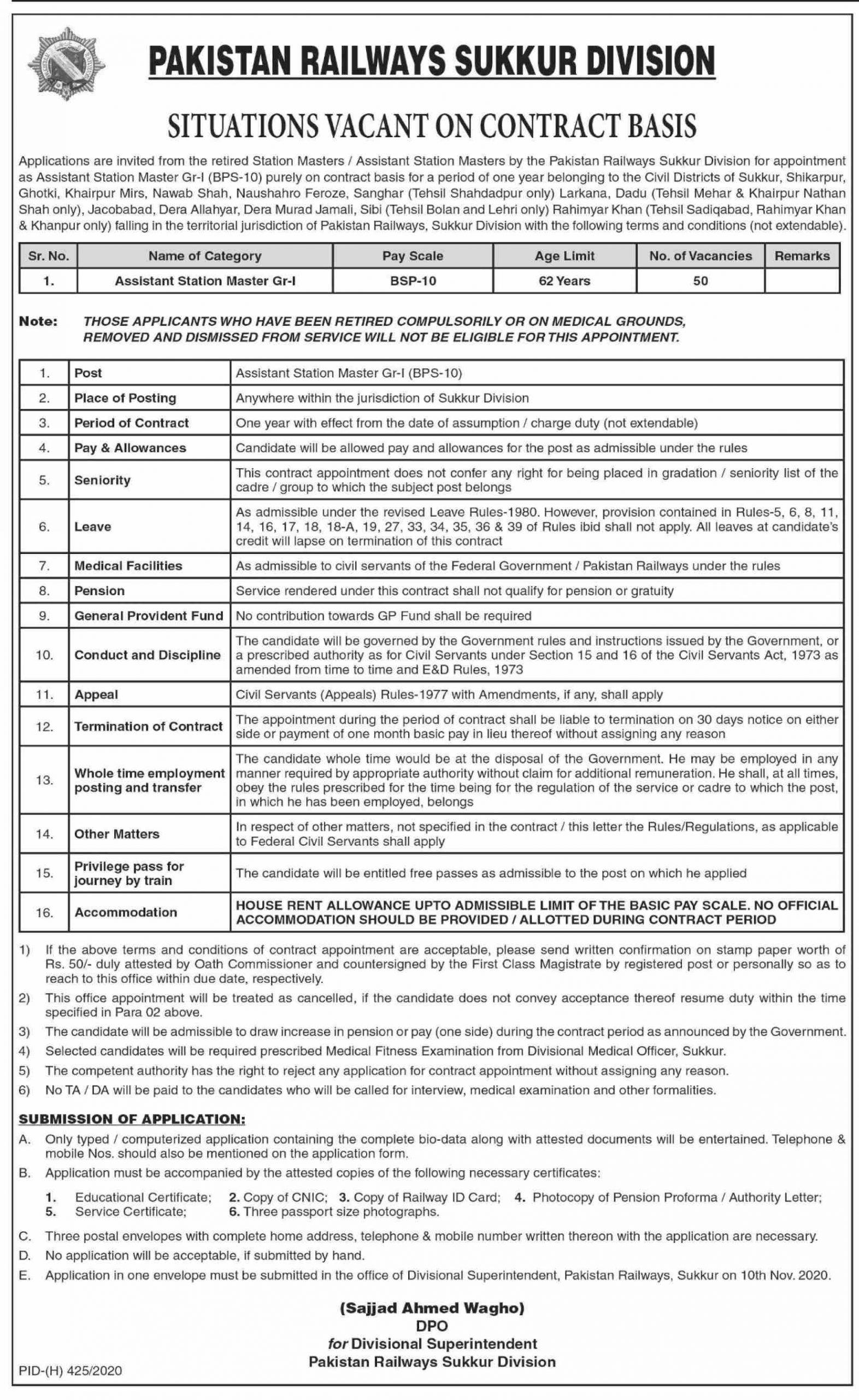 Assistant Station Master Jobs in Pakistan Railways Oct 2020