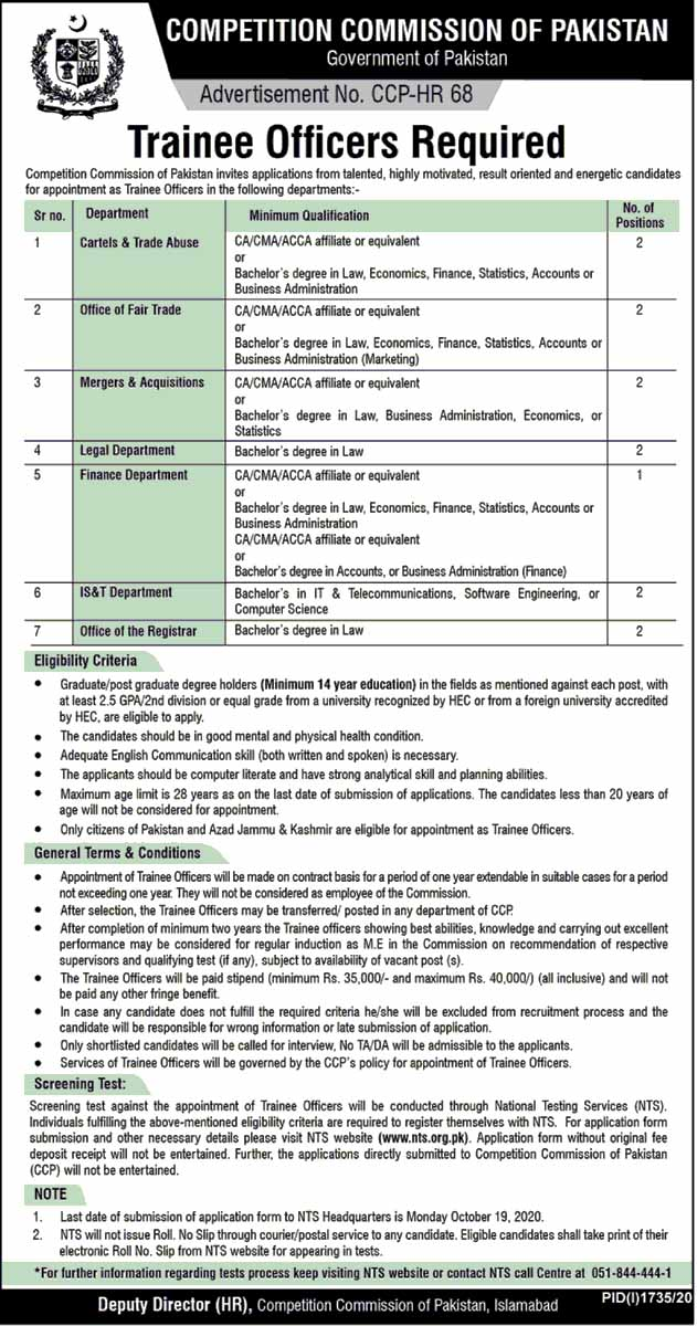 Competition of Pakistan CCP Oct 2020 Jobs