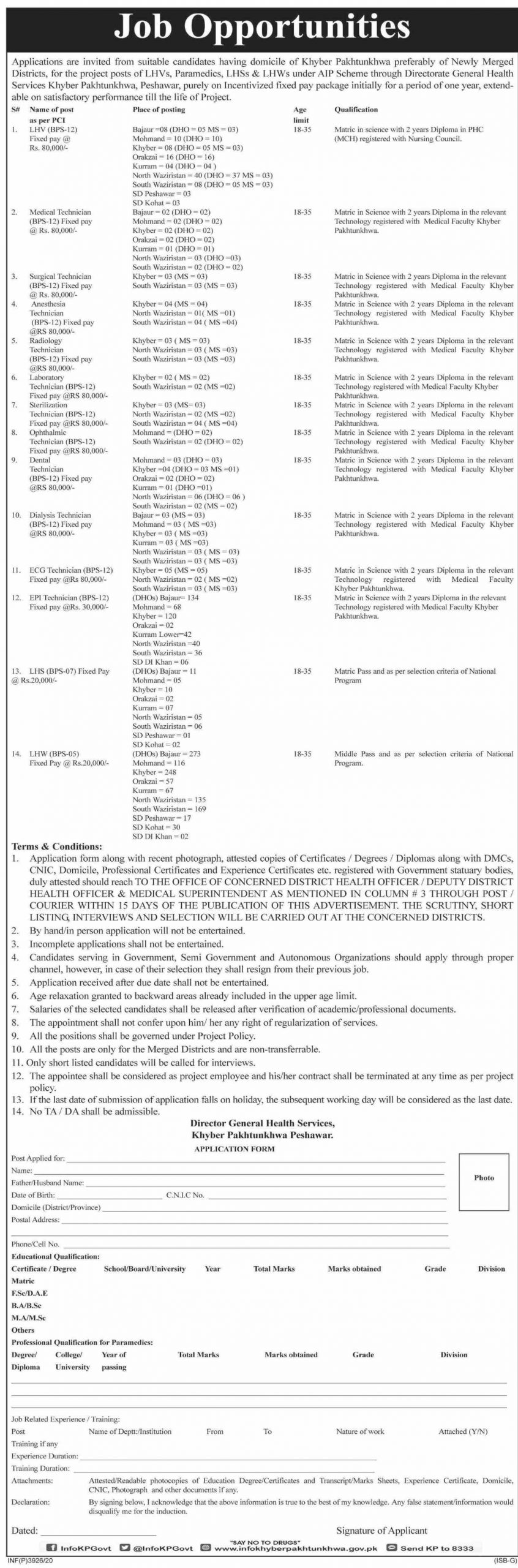 Directorate General Health Services Job