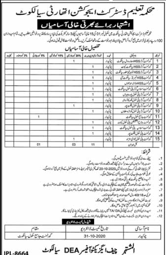 District Education Authority Sialkot Jobs Oct 2020