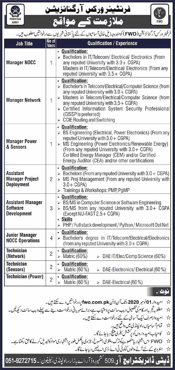 Frontier Works Organization FWO Oct 2020 Jobs