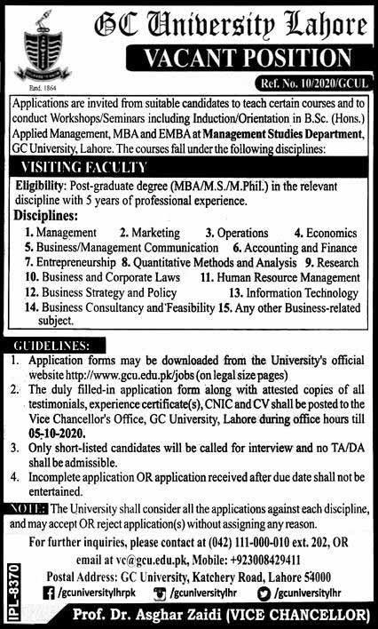 Government College GC University Jobs Oct 2020