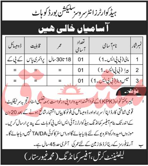 Headquarters Inter Services Selection Board ISSB Jobs