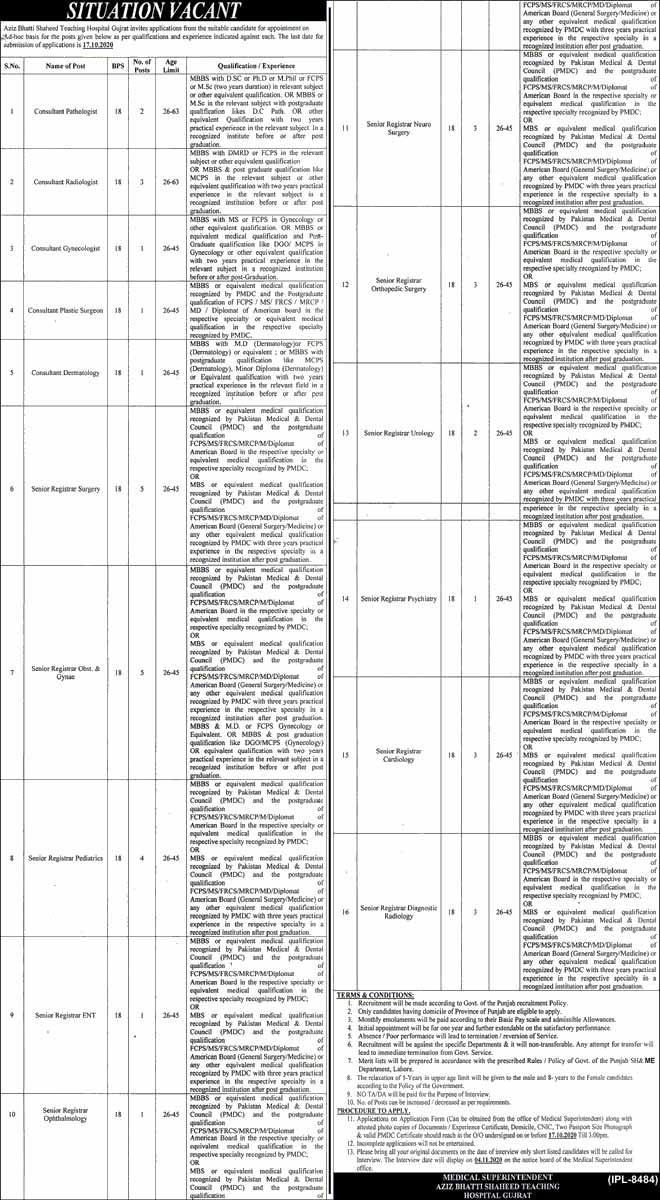 Jobs in Aziz Bhatti Shaheed Teaching Hospital