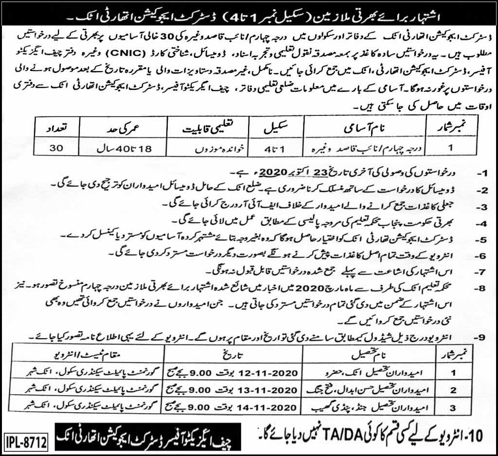 Jobs in District Education Authority Attock 2020
