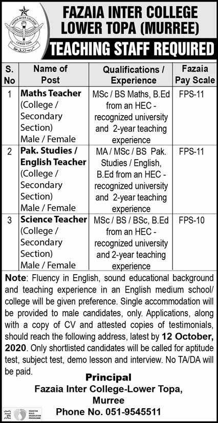 Jobs in Fazaia Inter College Lower Topa Murree 2020