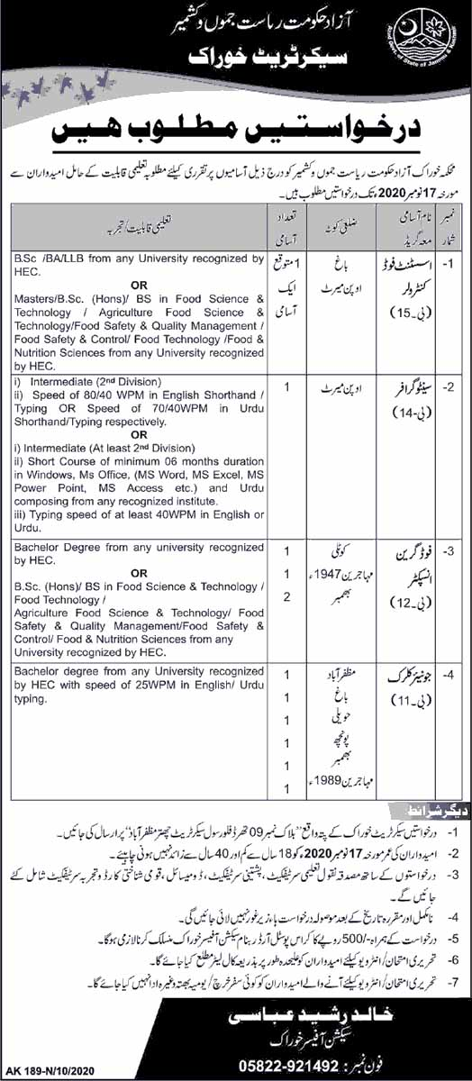 Jobs in Food Department in AJK 2020