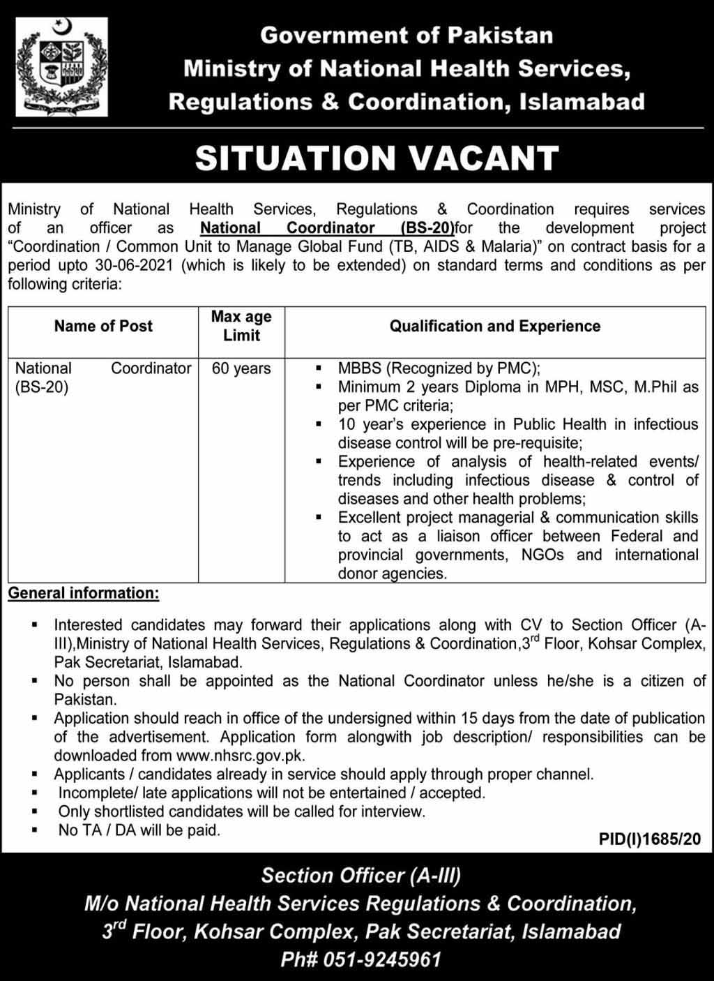 Jobs in Ministry of National Health Services for Coordinator