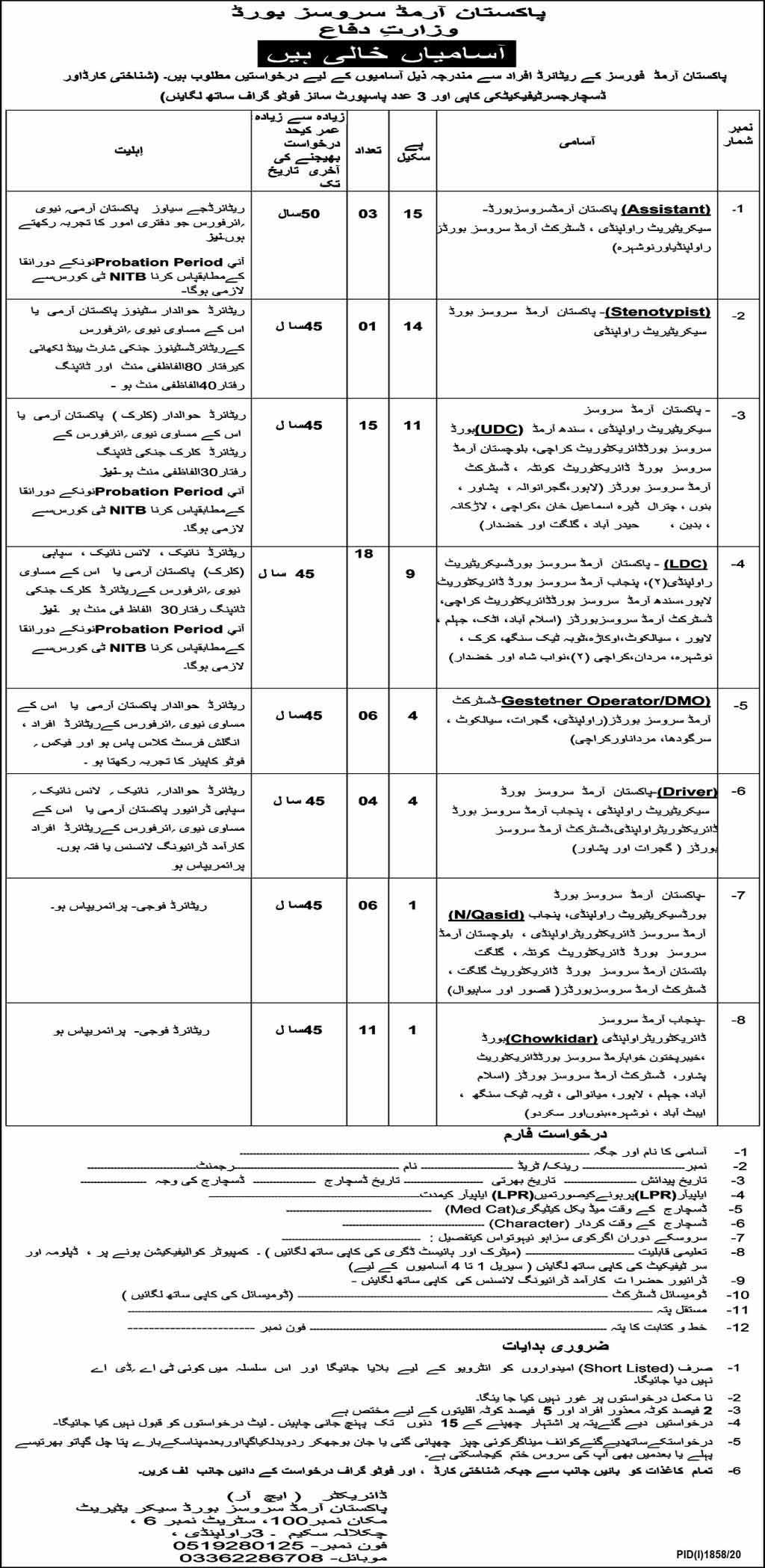 Jobs in Pakistan Armed Services Board Oct 2020