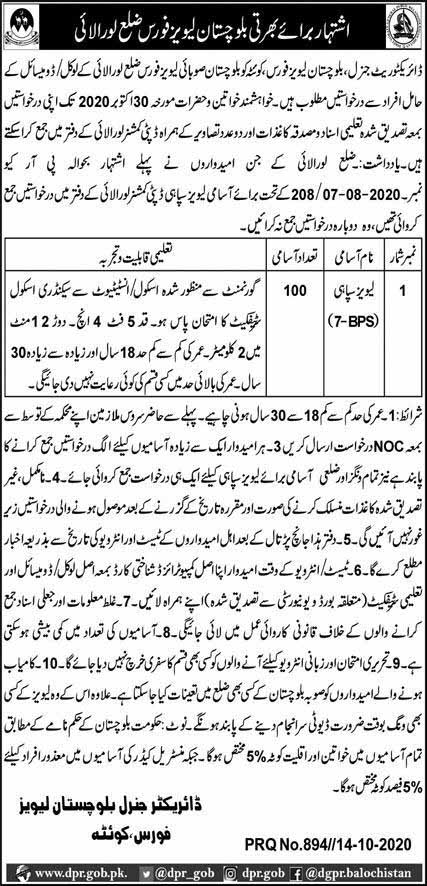 Levies Force Jobs in Loralai Oct 2020