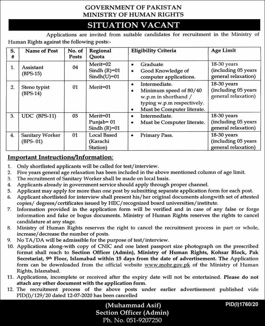 Ministry of Human Rights Jobs October 2020