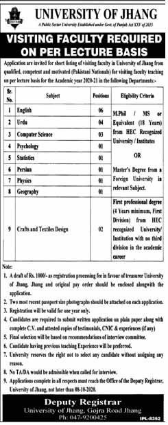 Per Lacture Basis Jobs in University Of Jhang 2020