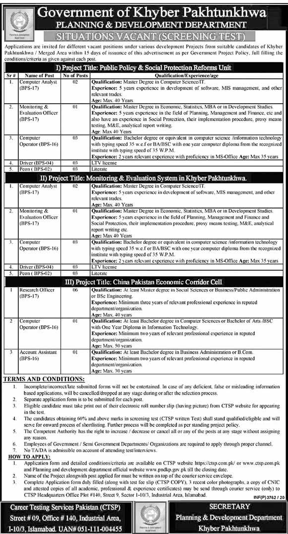 Planning & Development Department Jobs in KPK 2020
