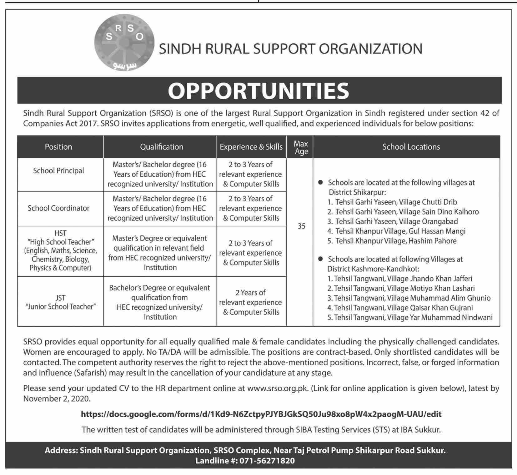 Sindh Rural Support Organization Jobs Oct 2020