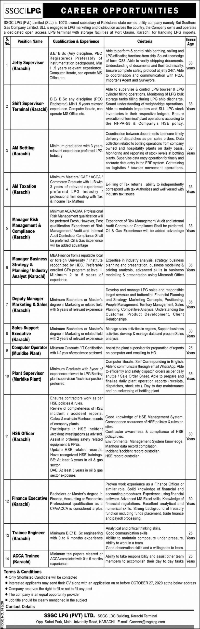 Sui Southern Gas Company Limited Jobs