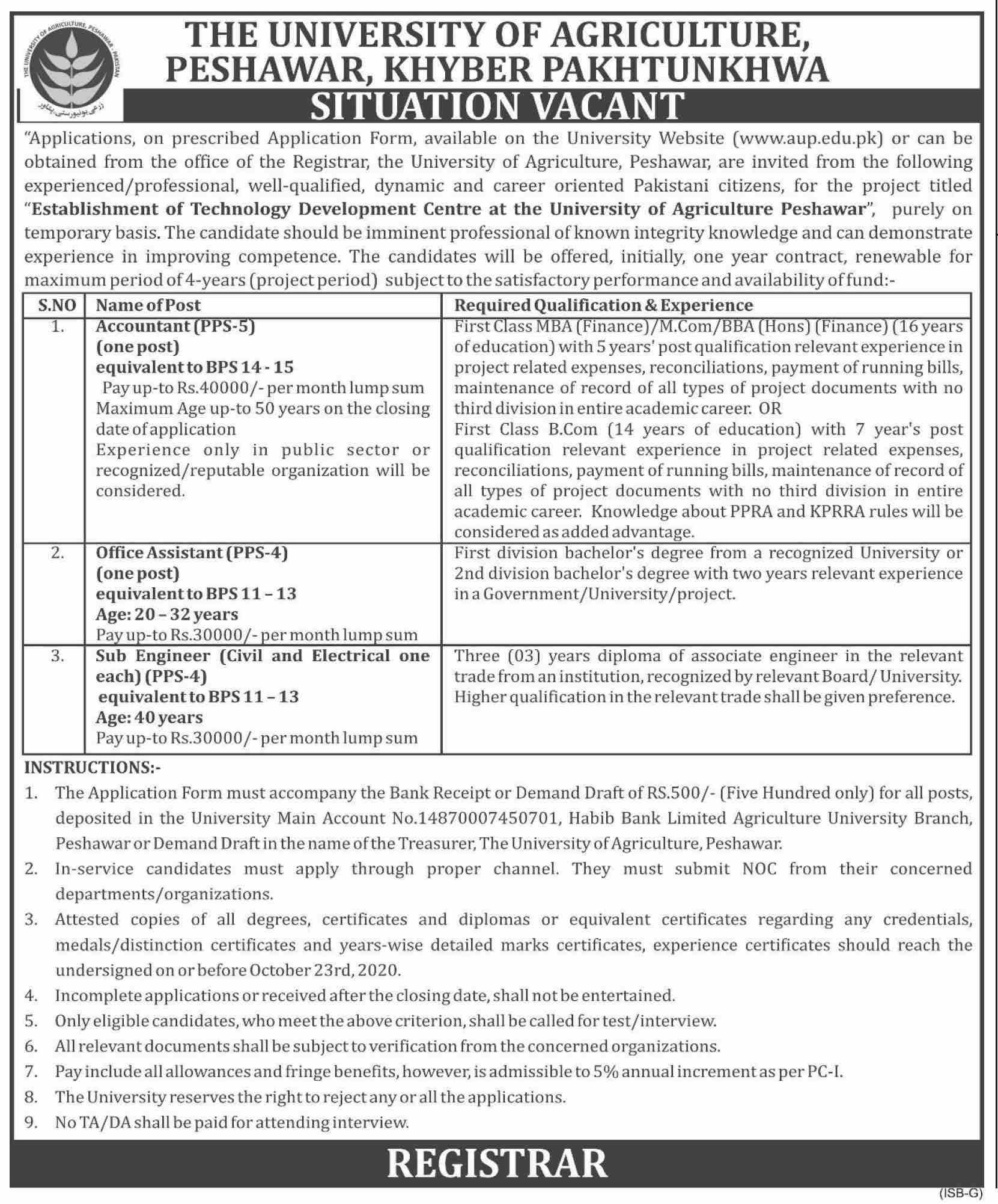 The University Of Agriculture Peshawar Jobs Oct 2020