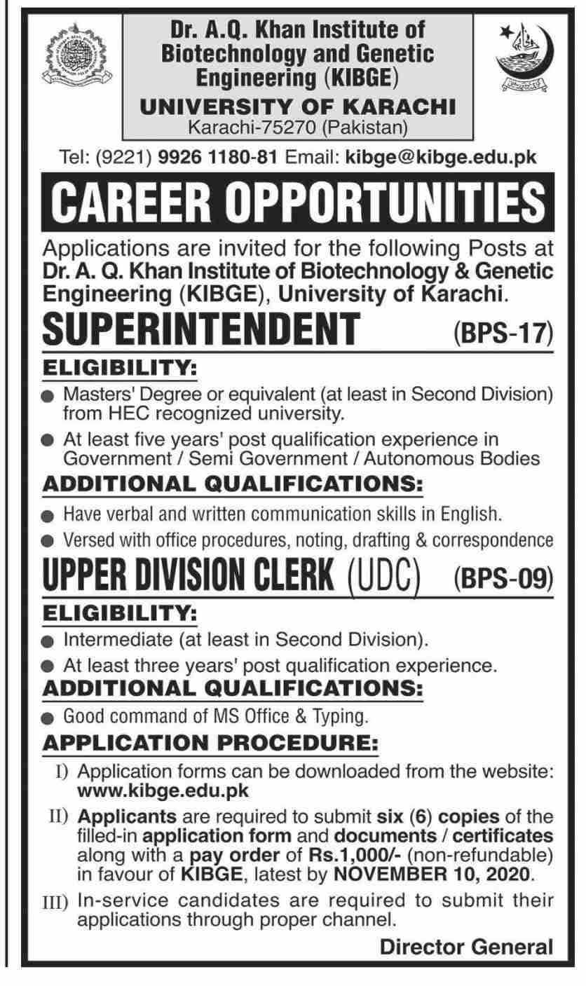 University Of Karachi Jobs October 2020