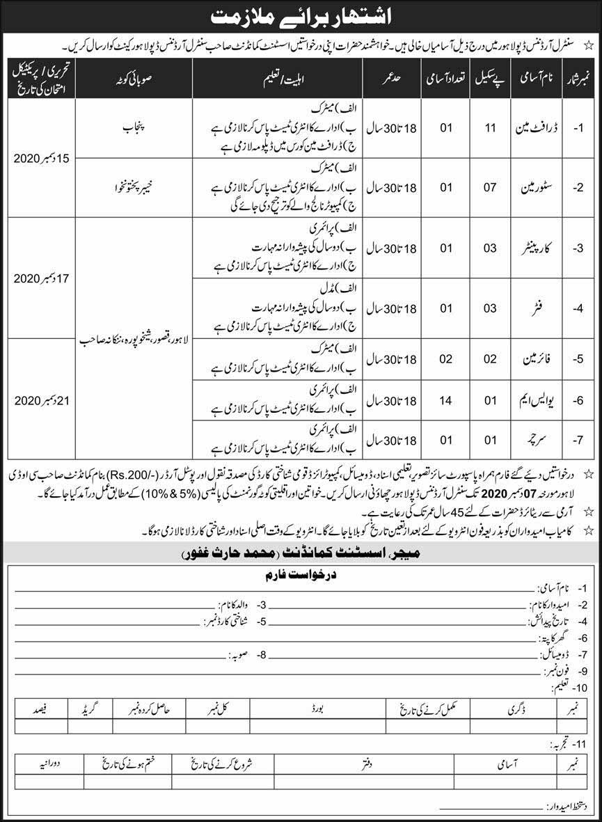 Central Ordnance Depot COD Lahore Cantt Jobs 2020