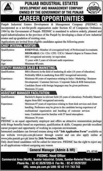 Jobs in PIEDMC Lahore November 2020