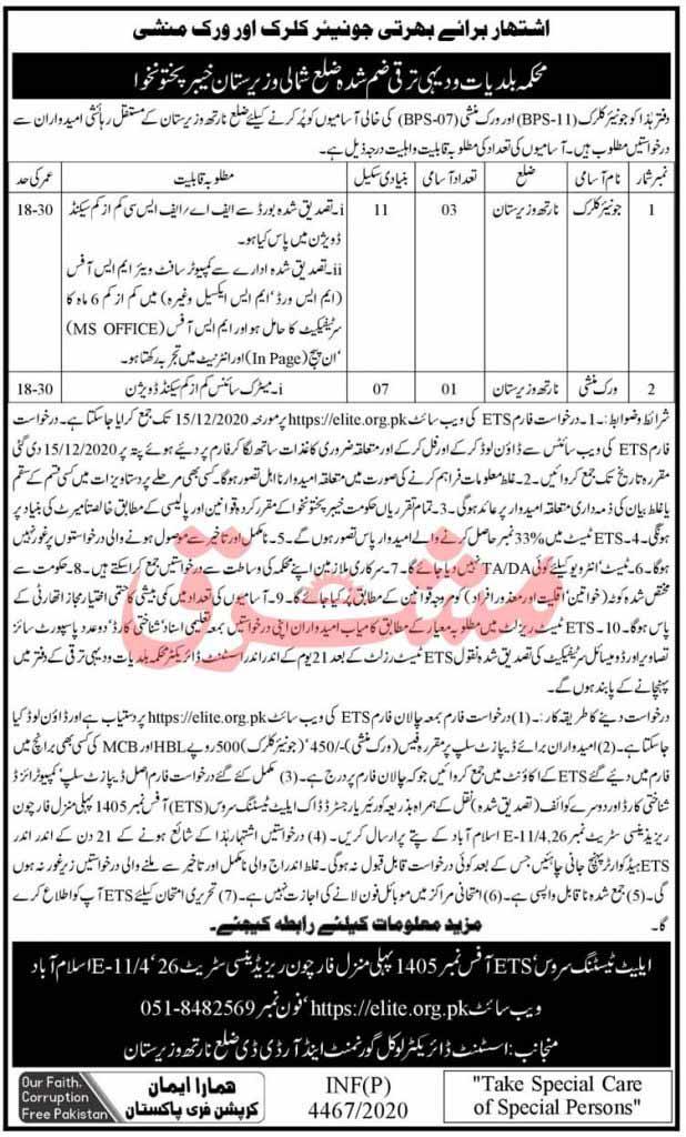 Junior Clerk, Work Munshi Jobs in North Waziristan 2020