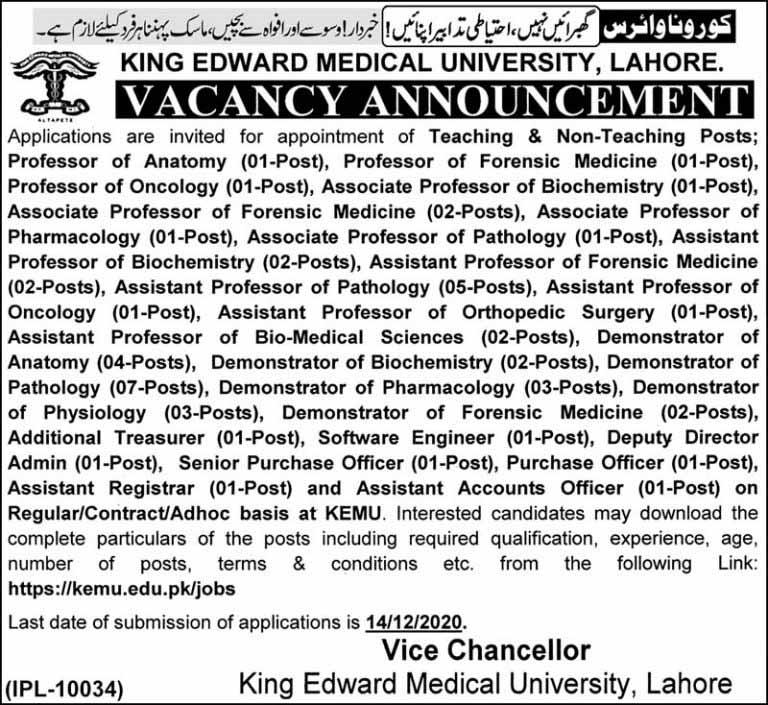 King Edward Medical University KEMU Jobs