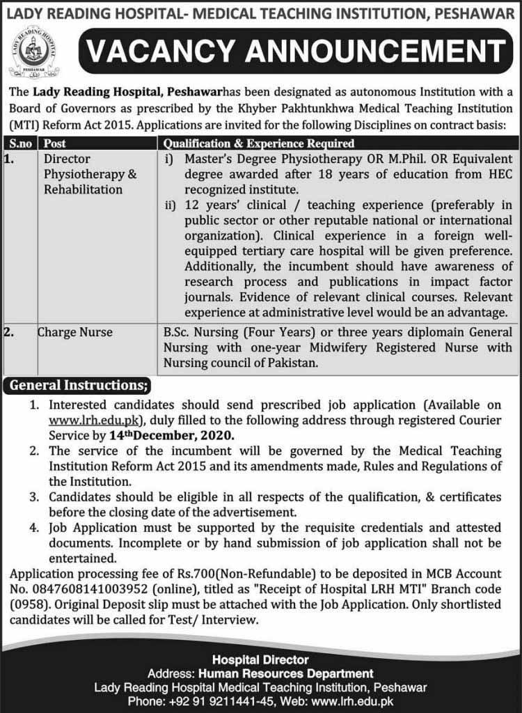 Lady Reading Hospital Jobs in Peshawar 2020
