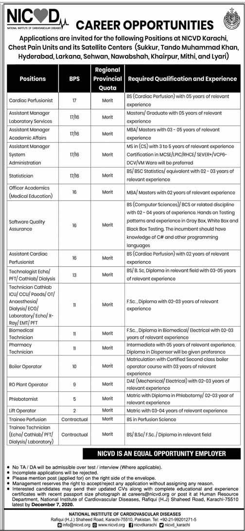 NICVD Jobs in Karachi Nov 2020