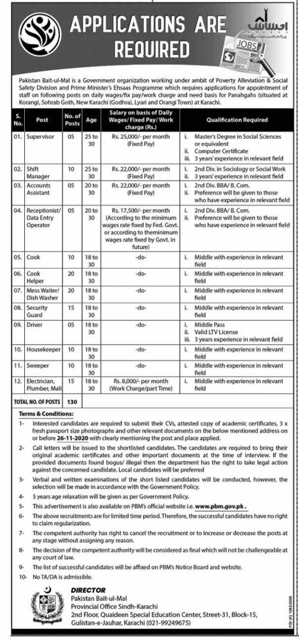 Pakistan Bait-Ul-Mal PBM Jobs