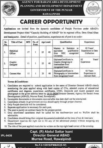 Planning & Development Department Jobs in Rawalpindi