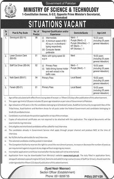 Today Jobs in Ministry of Science & Technology MOST 2020