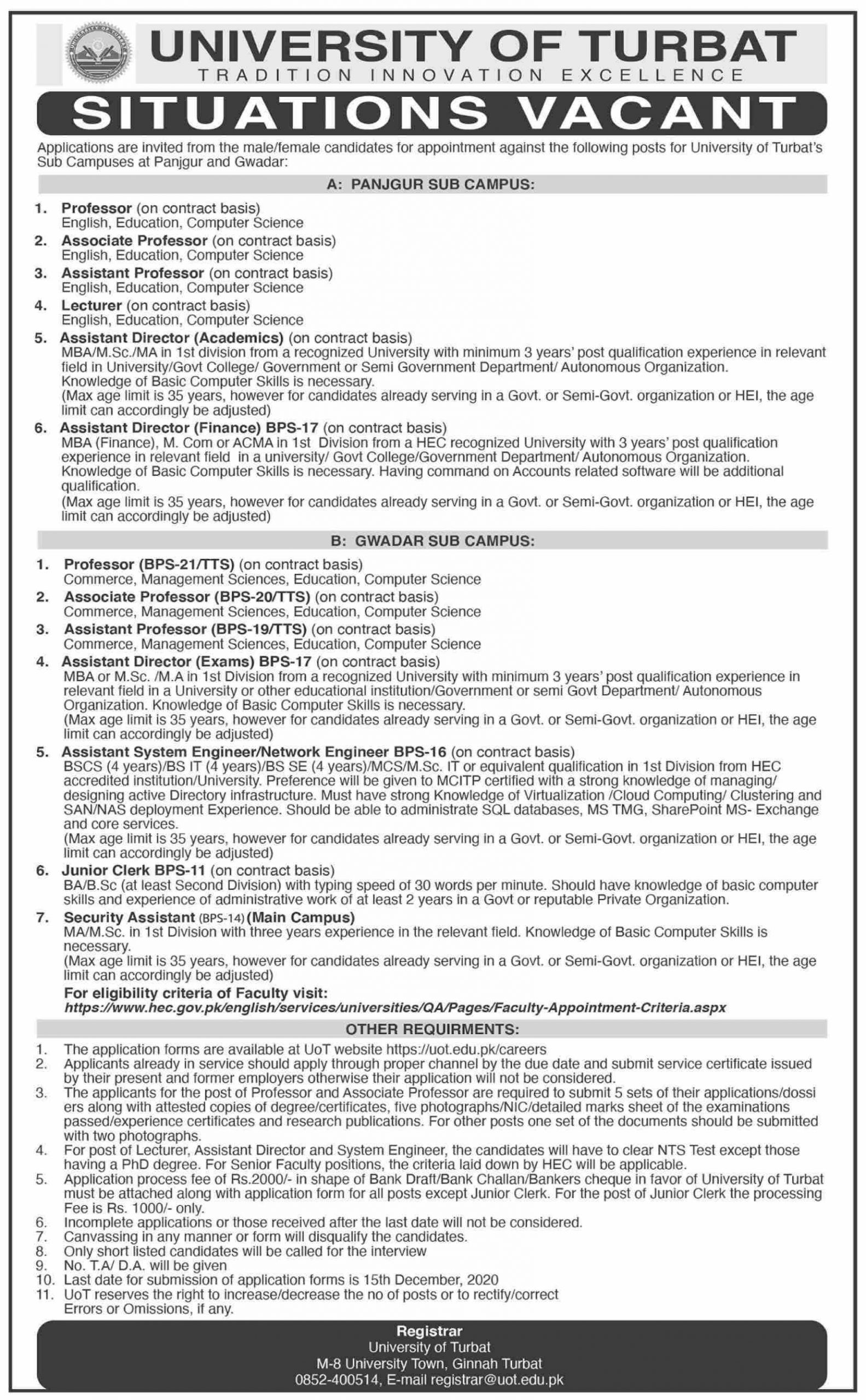 University Of Turbat Jobs Nov 2020