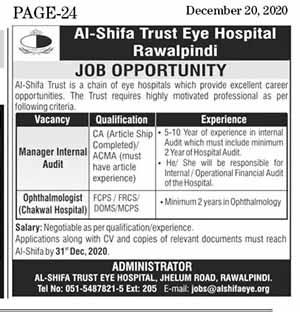 Al-Shifa Trust Eye Hospital Jobs 2020