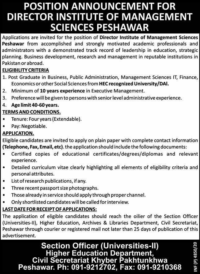 Institute of Management Sciences IMS Jobs 2020