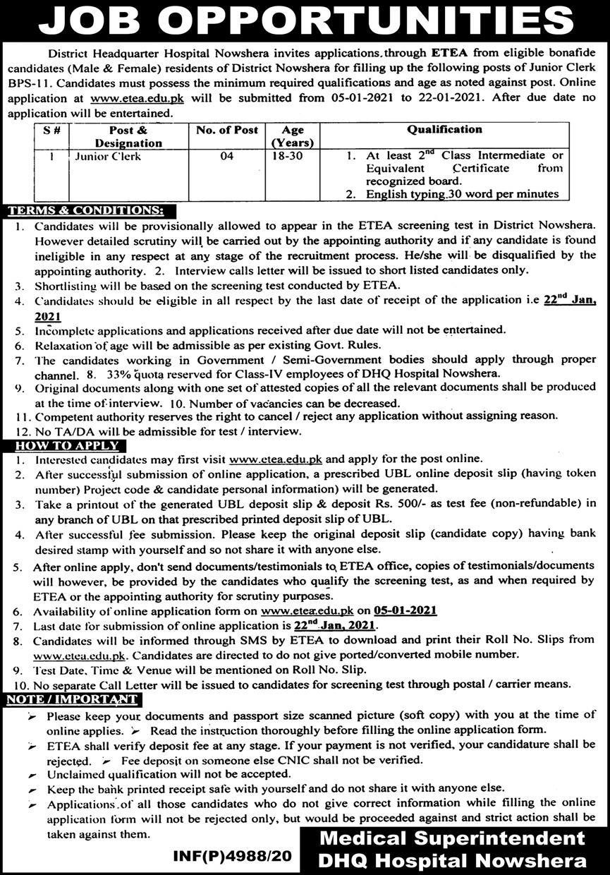 Jobs 2021 in DHQ Hospital Nowshera