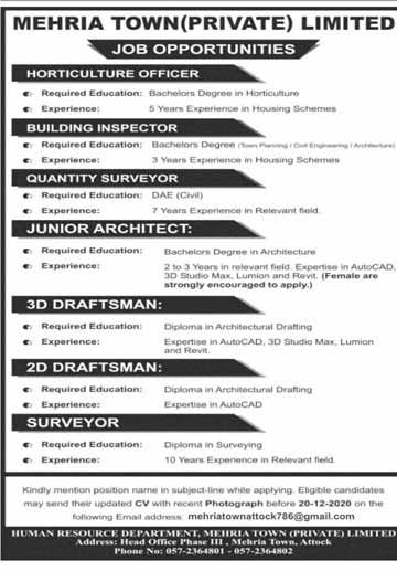 Mehria Town Attock Jobs