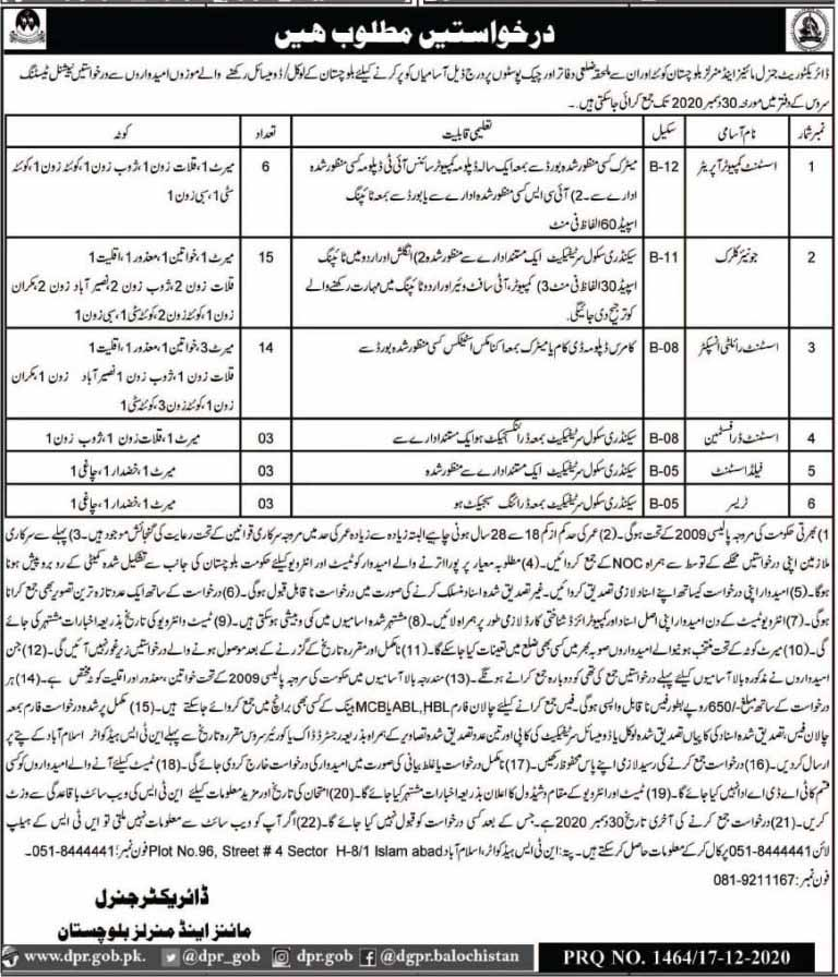 NTS Jobs in Mines and Minerals Department 2020