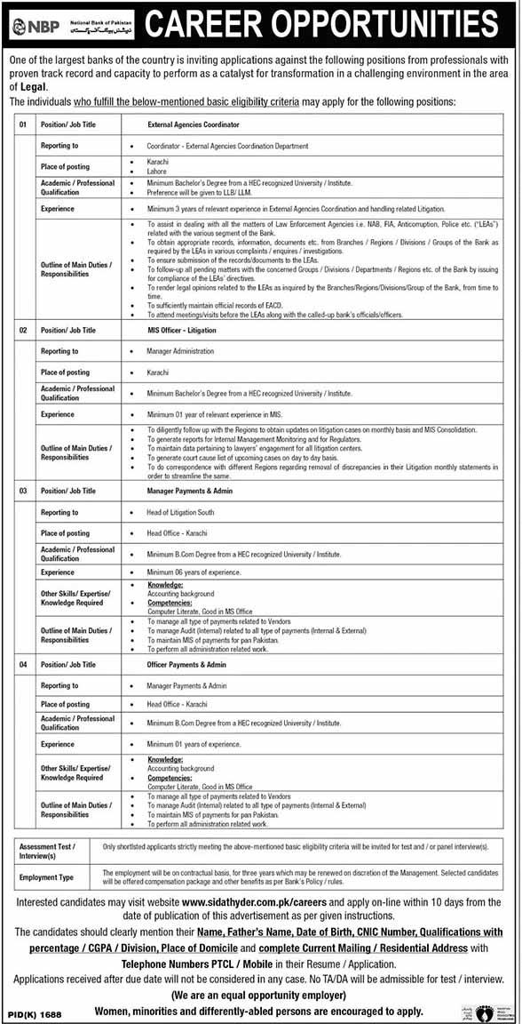National Bank of Pakistan NBP Jobs