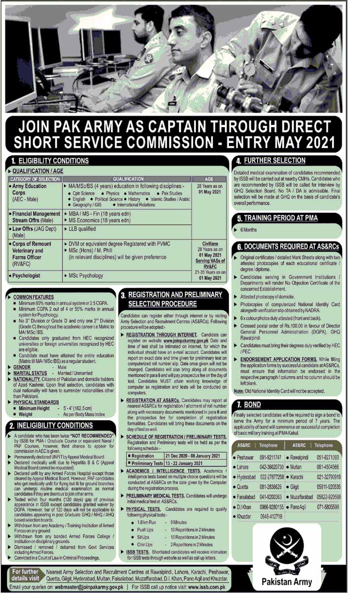 Pak Army as Captain Through Direct Short Service Commission Jobs December 202