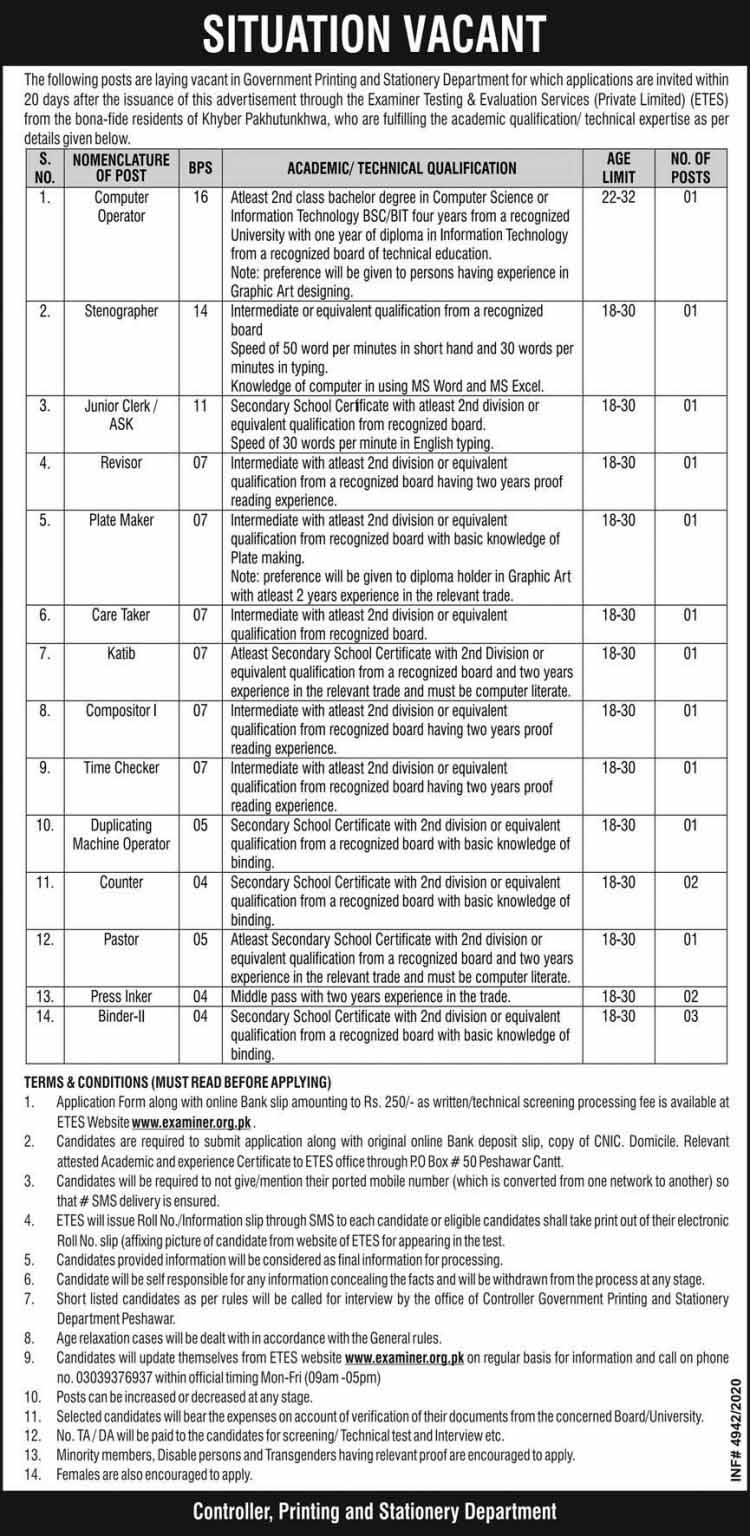 Printing & Stationery Department KPK Jobs