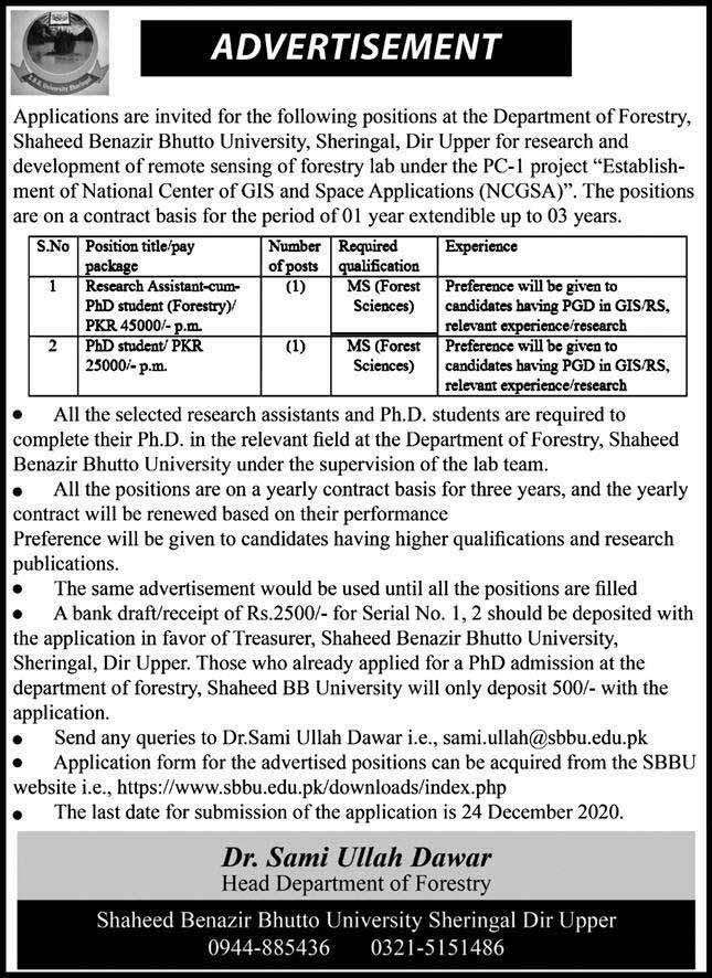 Shaheed Benazir Bhutto University SBBU Sheringa Jobs