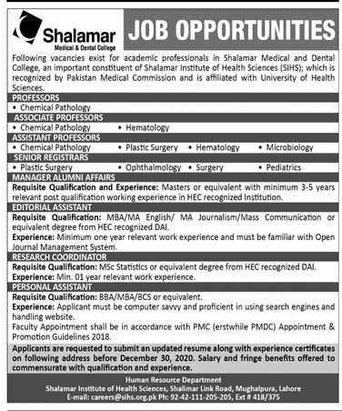 Shalamar Hospital Jobs 2020